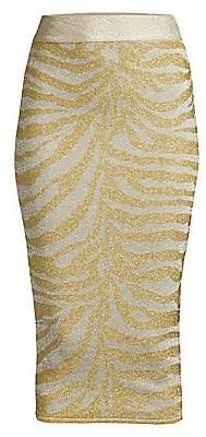 Herve Leger Women's Zebra-Print Knit Lurex Pencil Skirt