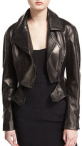 Tom Ford Zip-Front Short Moto Leather Jacket, Black