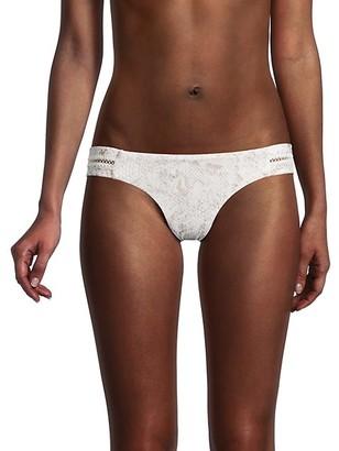 Pilyq Snakeskin-Print Bikini Bottom