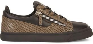Giuseppe Zanotti Lizard-Skin Effect Low-Top Sneakers