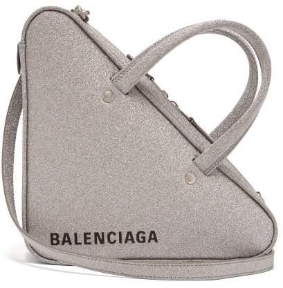 Balenciaga Triangle Duffle S Glittered Leather Bag - Womens - Silver