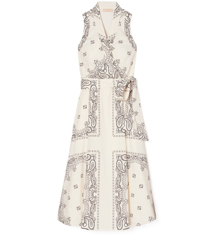 Tory Burch Printed Poplin Wrap Dress