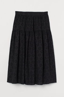 H&M Eyelet Embroidery Skirt - Black