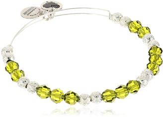 "Alex and Ani Swarovski Beaded"" Enchanted Expandable Wire Silver Bangle Bracelet"