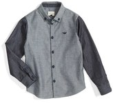 Armani Junior Boy's Colorblock Chambray Dress Shirt
