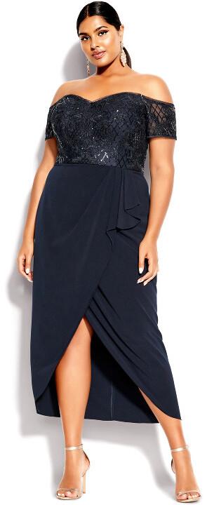 City Chic Romantic Ruffle Maxi Dress - midnight
