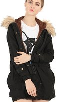 Greenis Women Jackt Coat Fur Hooded Thick Padded Long Size 2X- Large