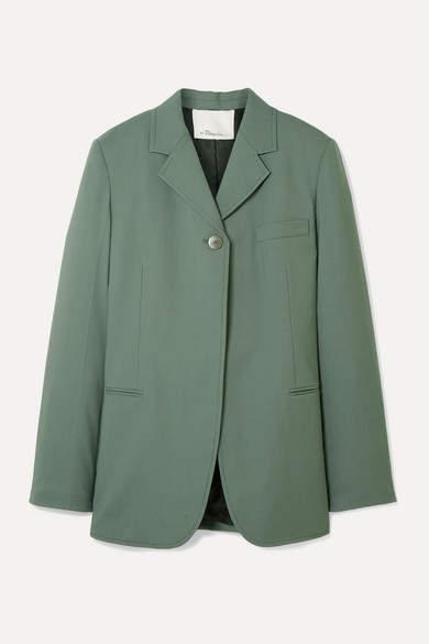 3.1 Phillip Lim Wool-blend Crepe Blazer - Gray green