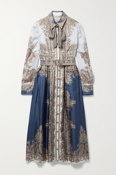 Thumbnail for your product : Zimmermann Luminous Pussy-bow Belted Paisley-print Silk-twill Midi Shirt Dress - Blue