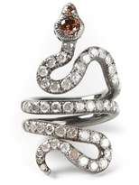 Loree Rodkin gold and diamond pavé coiled snake pinky ring
