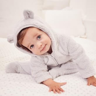 The White Company Grey Fleece Romper, Grey, 18-24mths