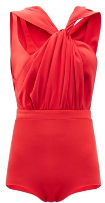A.W.A.K.E. Mode Twisted Asymmetric Crepe Bodysuit - Red