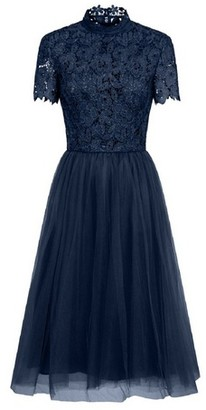 Dorothy Perkins Womens *Chi Chi London Navy Crochet Bodice Midi Skater Dress, Navy