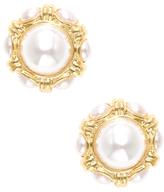 Kenneth Jay Lane Cabochon Pearl Center Stud Earrings