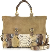 Ghibli Golden Brown Python Tote w/Detachable Shoulder Strap