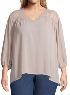 John Paul Richard Plus Size Lace-Yoke Top
