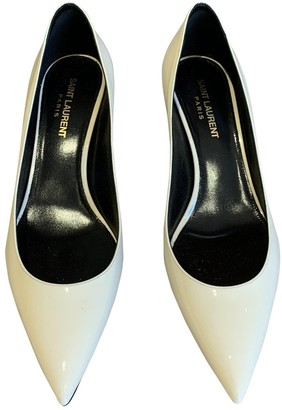 Saint Laurent Charlotte Ecru Leather Heels