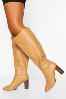 boohoo Wide Fit Block Heel Knee Boots