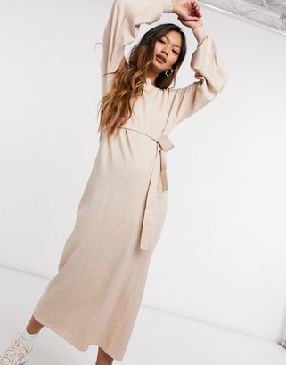 ASOS DESIGN maxi dress with tie waist detail in oatmeal