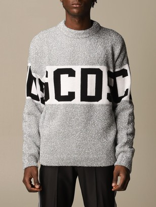 GCDS Sweater Pullover In Lurex Wool Blend With Logo