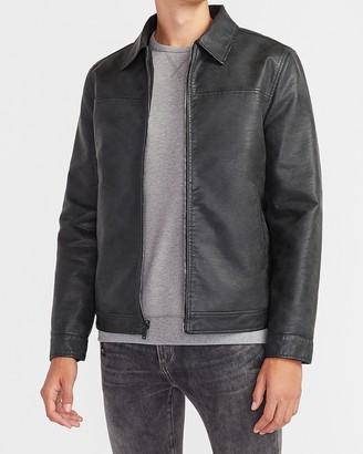 Express Black Vegan Leather Reversible Jacket
