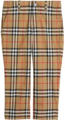 BURBERRY KIDS Vintage Check Cotton Tailored Trousers