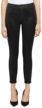 L'Agence Margot Skinny Jeans in Noir Contrast Coated