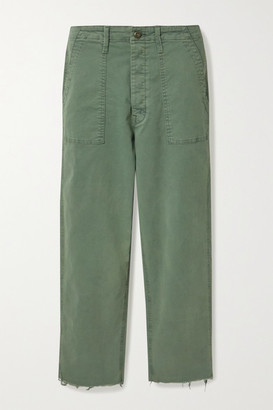 Mother Cropped Frayed High-rise Wide-leg Jeans - Army green
