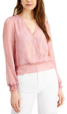 Q & A Wrap-Style Long-Sleeve Top