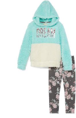 One Step Up Girls' Leggings C.MINT/GRAY - Cool Mint Sequin 'Dream' Sherpa Hoodie & Gray Floral Leggings - Toddler