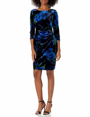 Jessica Howard JessicaHoward Women's Three Quarter Sleeve Side Tuck Sheath Velvet Dress Black/Royal 14