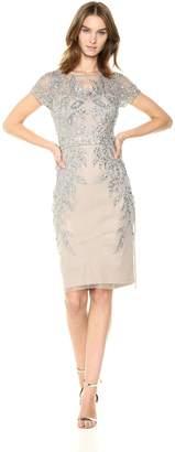 Adrianna Papell Women's Leafy Beaded Short Sleeve Sheath Dress