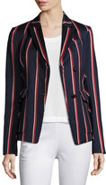 Rag & Bone Howson Striped Asymmetric Blazer, Blue/Red/White