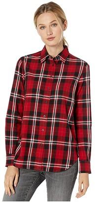 Lauren Ralph Lauren Collared Cotton Shirt (Red/Polo Black) Women's Clothing