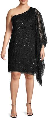 Adrianna Papell Plus Embellished One-Shoulder Shift Dress