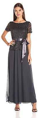 Onyx Nite Women's Long Gown with Lace Bodice Drape Back and Mesh Skirt