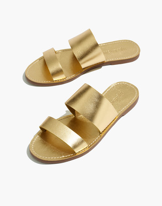 Madewell The Boardwalk Double-Strap Slide Sandal in Metallic Leather