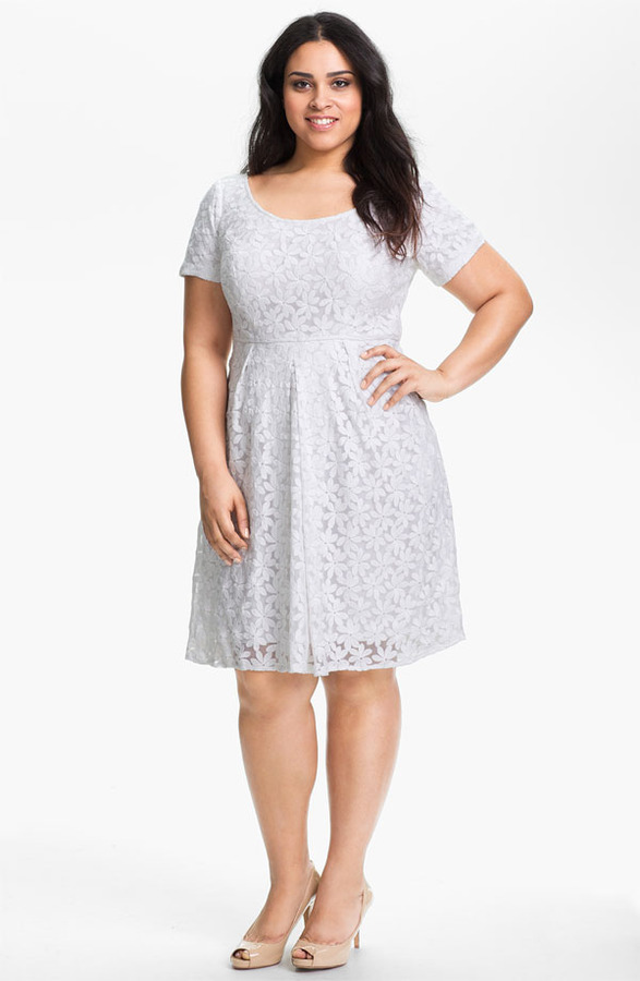 Adrianna Papell Embroidered Tulle Dress (Plus Size) (Online Only)