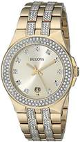 Bulova Men's 98B174 Swarovski Crystal Gold Tone Watch