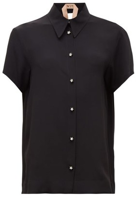 No.21 No. 21 - Point-collar Crystal-buttoned Crepe Shirt - Black