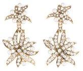 Oscar de la Renta Faux Pearl & Crystal Floral Drop Earrings