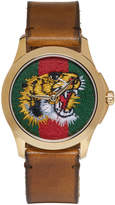 Gucci Gold and Brown Tiger Watch