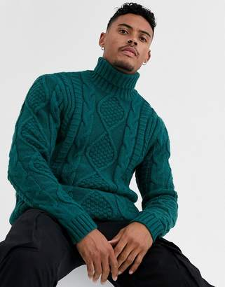 Asos Design DESIGN heavyweight cable knit roll neck sweater in green