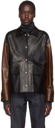 Jil Sander Brown and Black Leather Bi-Color Likke Boxy Jacket