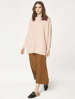 Paisie Ribbed Jumper With Side Splits Blush - S/M