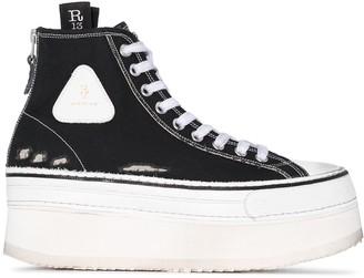 R 13 Distressed Platform High-Top Sneakers