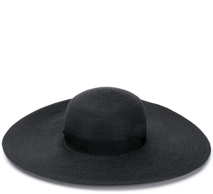 102d7b4cdddc Banded Black Wide-brimmed Hat - ShopStyle
