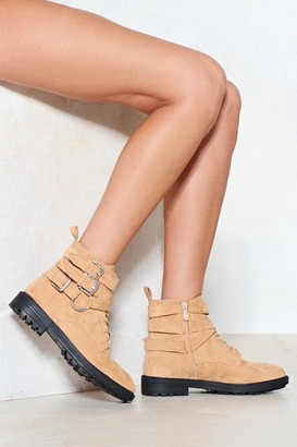 Nasty Gal Womens Strap To Attention Faux Suede Boot - Beige - 3, Beige