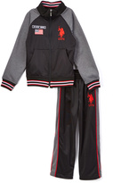 U.S. Polo Assn. Engine Red Tricot Zip-Up Jacket & Track Pants - Toddler & Boys