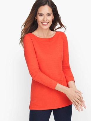 Talbots Textured Bateau Neck Tee - Solid
